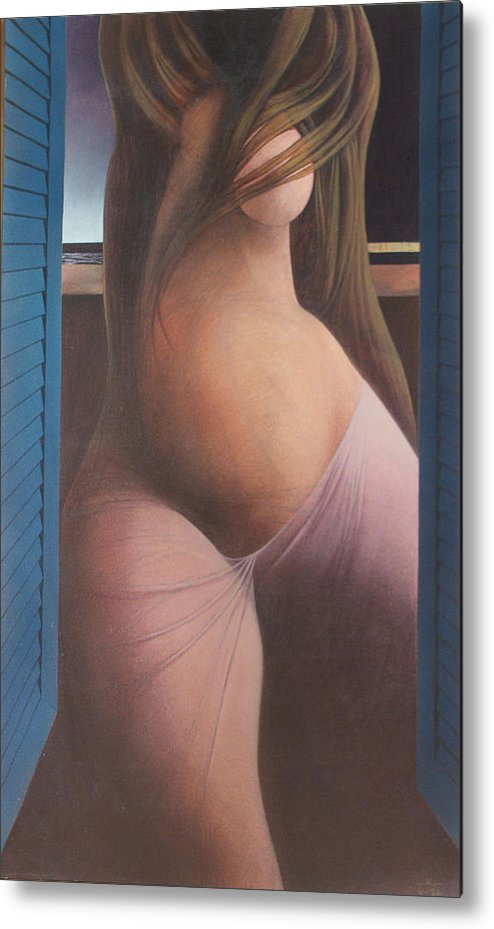 Figure Metal Print featuring the painting Femme Aux Volets by James LeGros