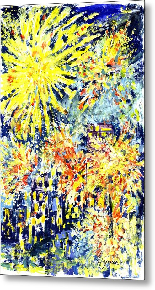 Fireworks Metal Print featuring the painting Fourth Of July by Lily Hymen