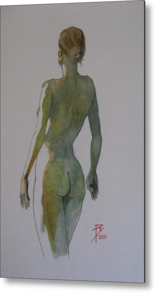 Watercolour Metal Print featuring the painting Melita by Ray Agius