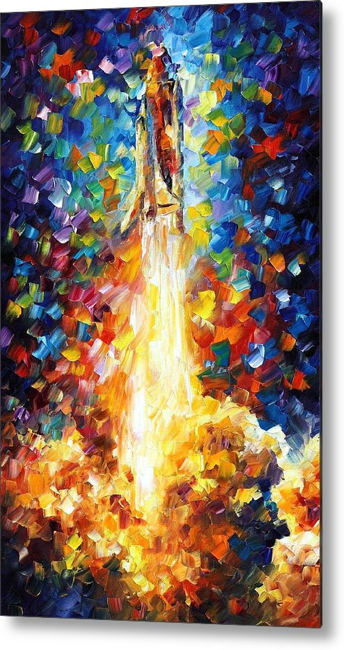 space shuttle palette knife oil painting on canvas by leonid