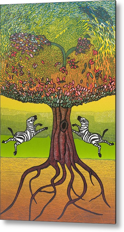 Landscape Metal Print featuring the mixed media The Life-giving Tree. by Jarle Rosseland