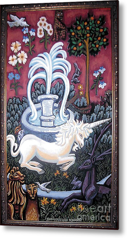 Unicorn Tapestries Metal Print featuring the painting The Unicorn And Garden by Genevieve Esson