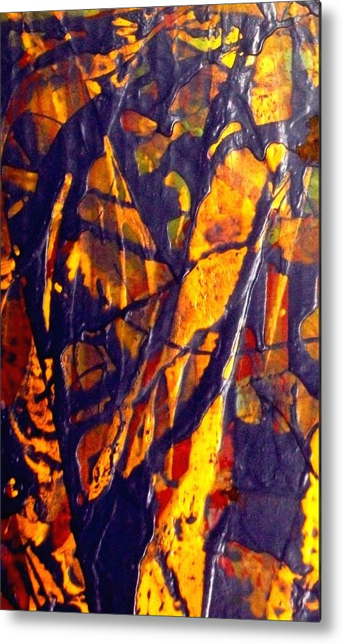 Abstract Metal Print featuring the painting When A Tree Falls Alone In A Forest 1 by Bruce Combs - REACH BEYOND