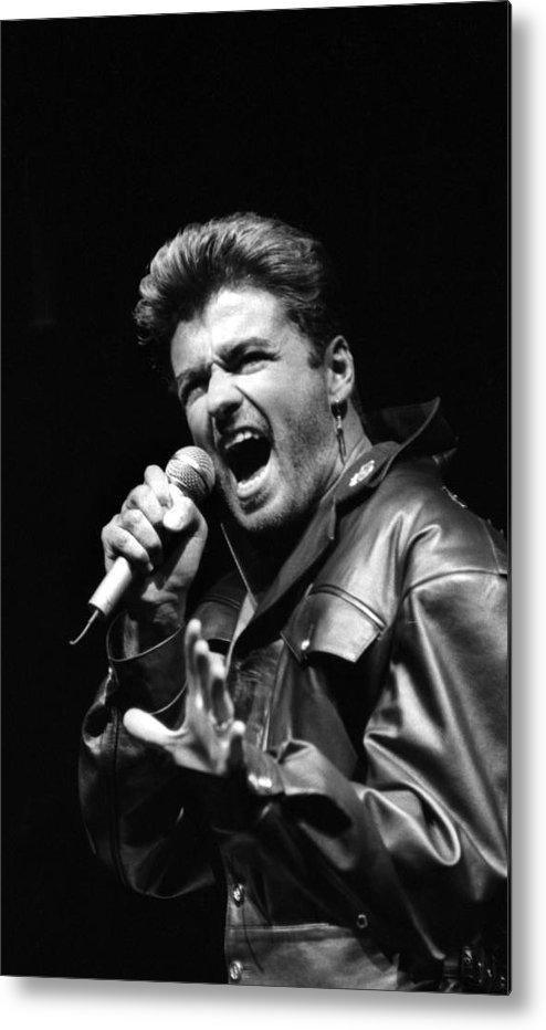 1980-1989 Metal Print featuring the photograph Geroge Michael At Madison Square Garden by New York Daily News Archive