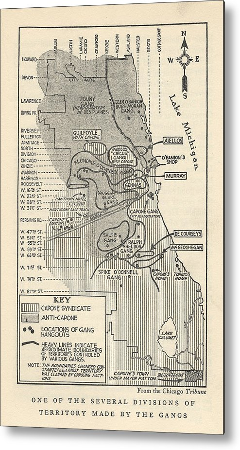 Map Showing Divisions Of Gang Metal Print by Chicago History Museum