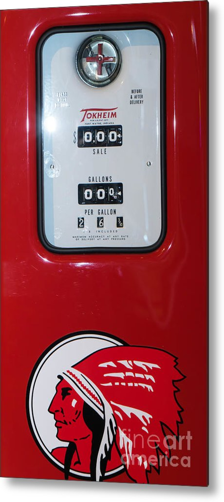 Route 66 Metal Print featuring the photograph Classic Vintage Tokheim Red Indian Gas Pump Dsc02739 by Wingsdomain Art and Photography