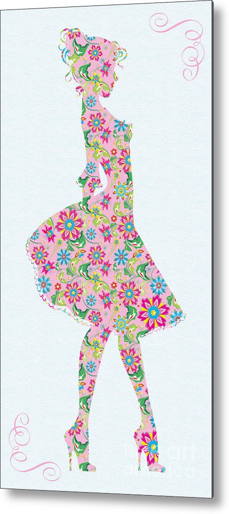 Pretty In Pink Metal Print featuring the mixed media Pretty In Pink Flower Girl by Olga Hamilton