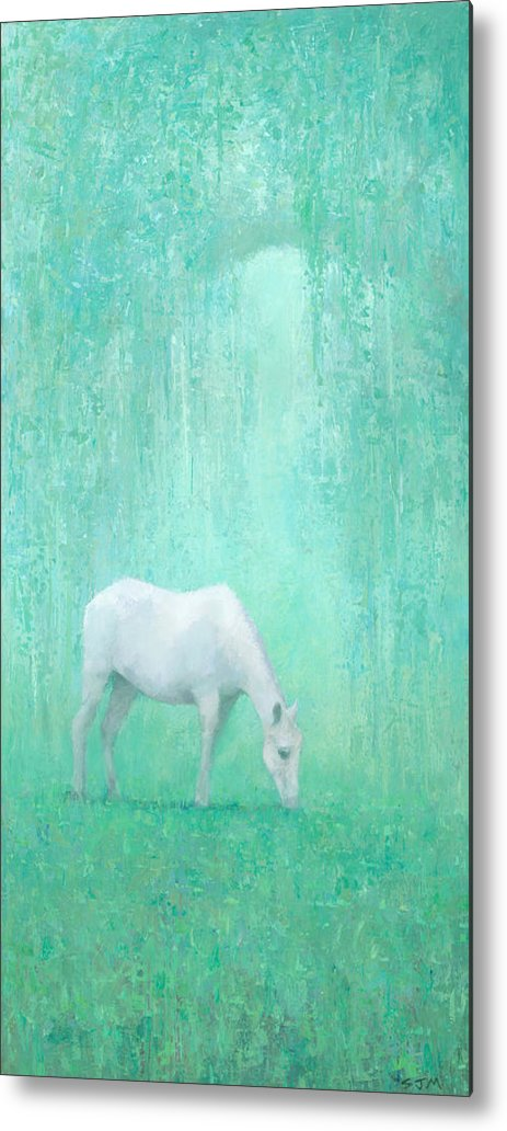 Art Metal Print featuring the painting The Green Glade by Steve Mitchell