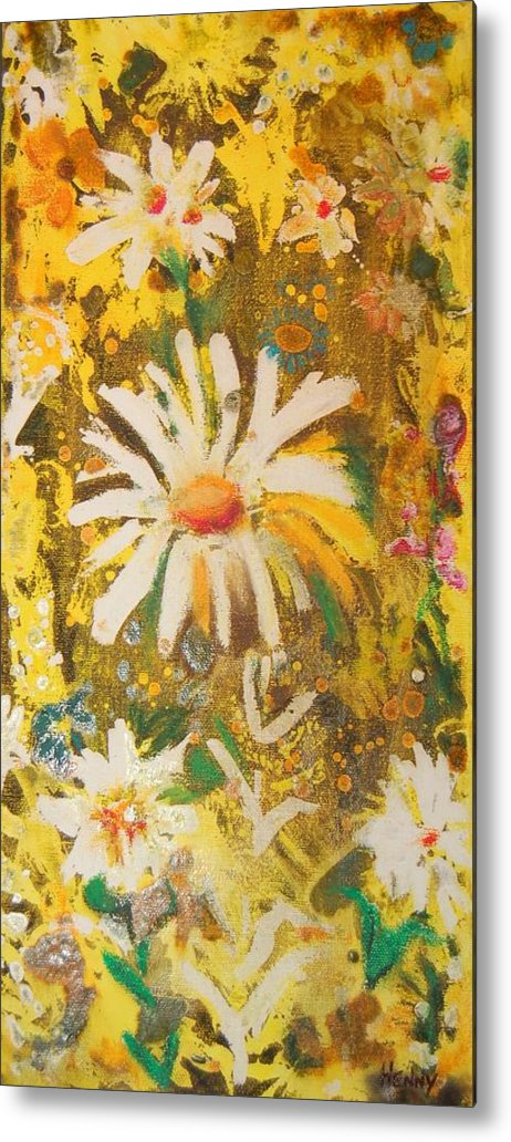 Floral Abstract Metal Print featuring the painting Daisies In The Wind Vii by Henny Dagenais
