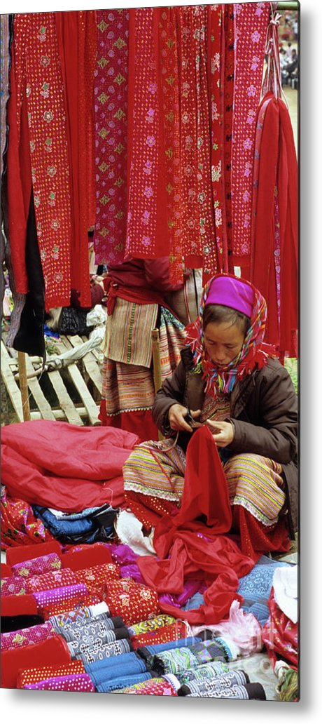 Vietnam Metal Print featuring the photograph Flower Hmong Fabric Stall by Rick Piper Photography