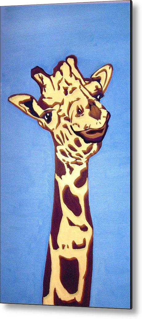 Art Metal Print featuring the painting Giraffe by Darren Stein