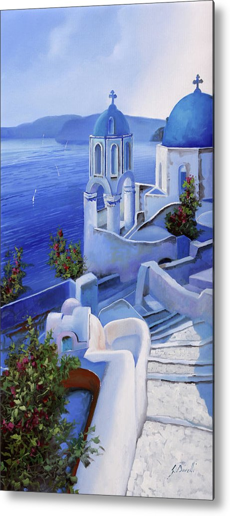 Church Metal Print featuring the painting Le Chiese Blu by Guido Borelli