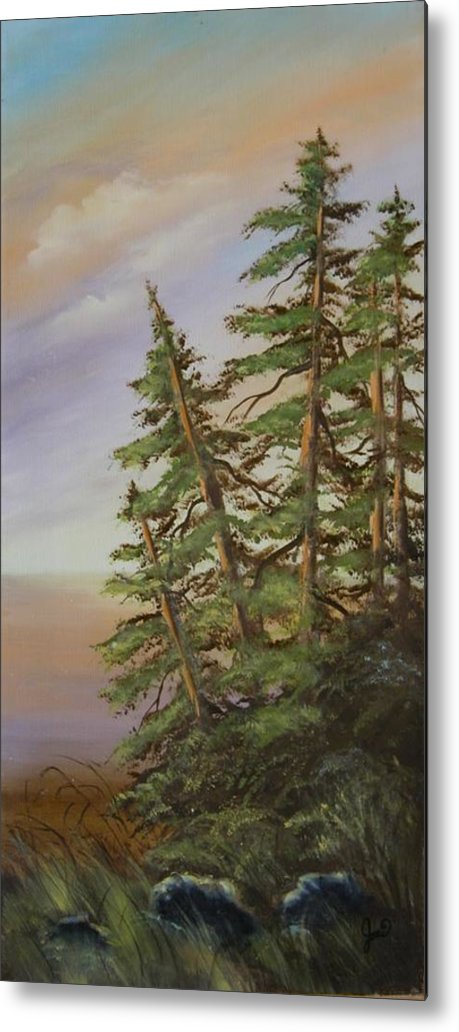 Landscape Metal Print featuring the painting Leaning Trees by Joni McPherson