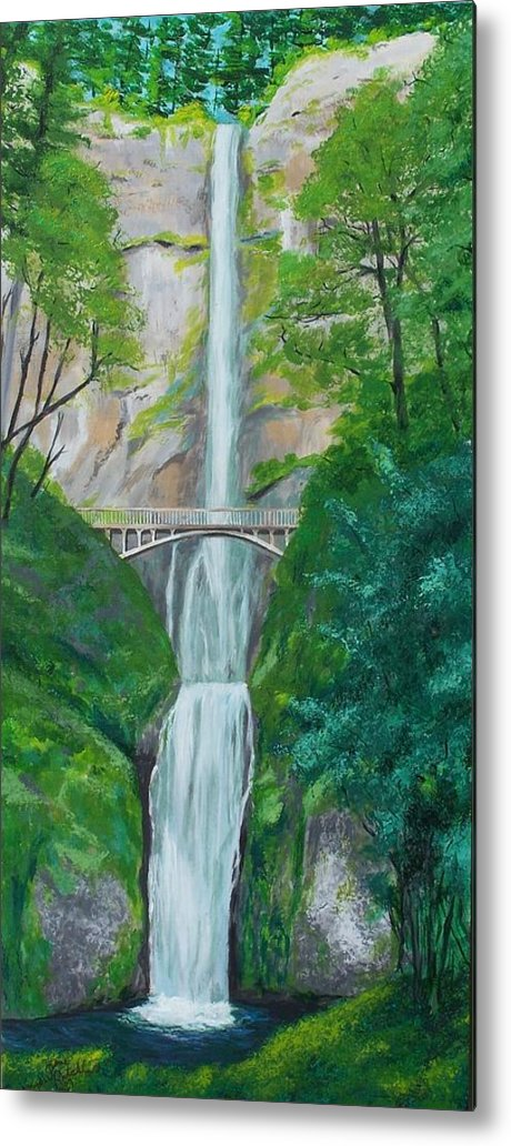 Landscape Metal Print featuring the painting Multonomah Falls by Gene Ritchhart