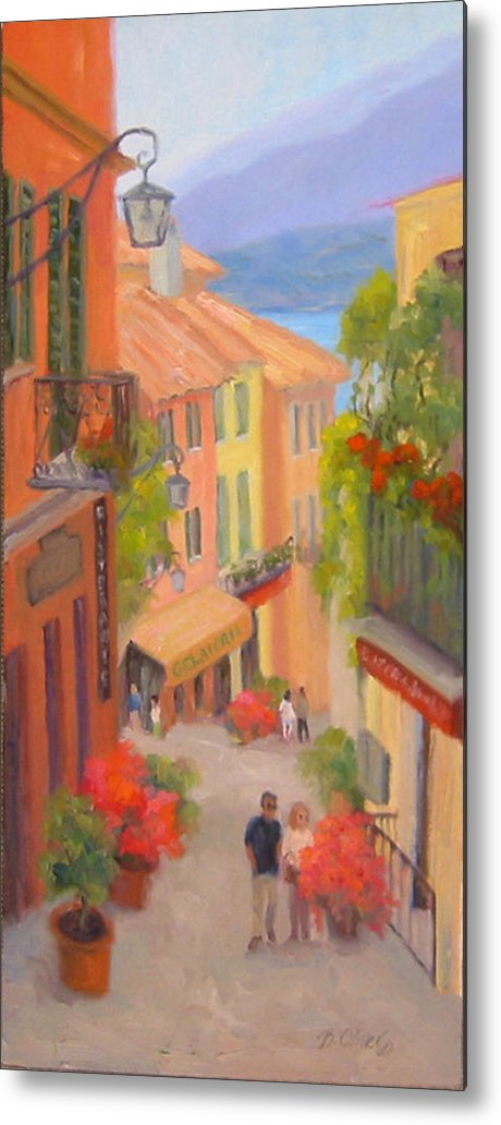 Bellagio Metal Print featuring the painting Saturday Stroll - Bellagio by Bunny Oliver