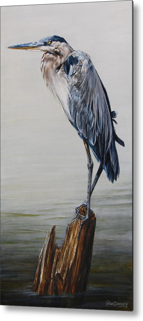 Great Blue Heron Metal Print featuring the painting The Sentinel - Portrait Of A Great Blue Heron by Dreyer Wildlife Print Collections