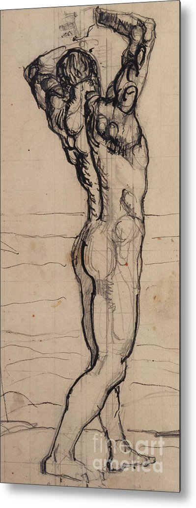 Drawing; Nude; Back View; Stretching; Standing; Full Length; Symbolist; Pen Metal Print featuring the drawing Male Act  Study For The Truth by Ferdninand Hodler