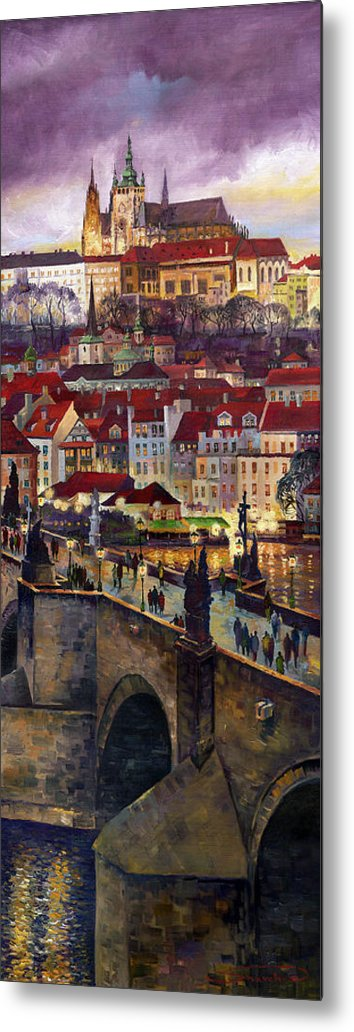 Prague Metal Print featuring the painting Prague Charles Bridge With The Prague Castle by Yuriy Shevchuk