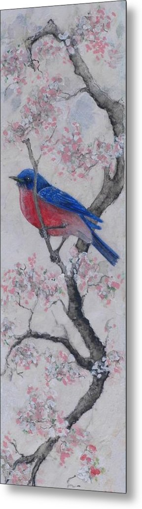 Bluebird Metal Print featuring the painting Bluebird In Cherry Blossoms by Sandy Clift