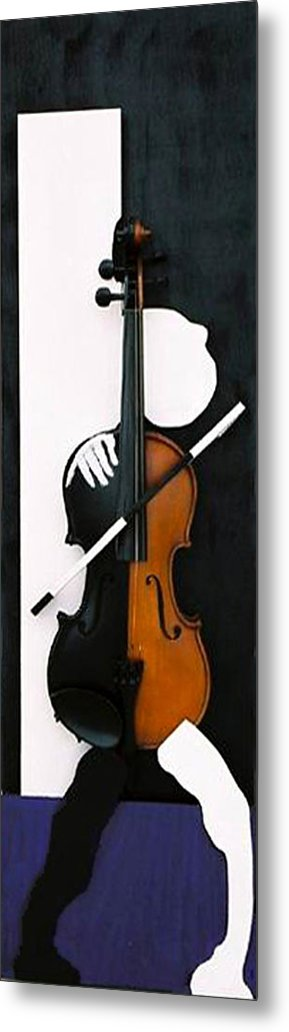 Violin Metal Print featuring the sculpture Soul Of Music by Steve Karol