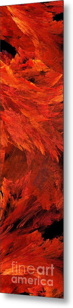 Abstract Metal Print featuring the digital art Autumn Fire Pano 2 Vertical by Andee Design