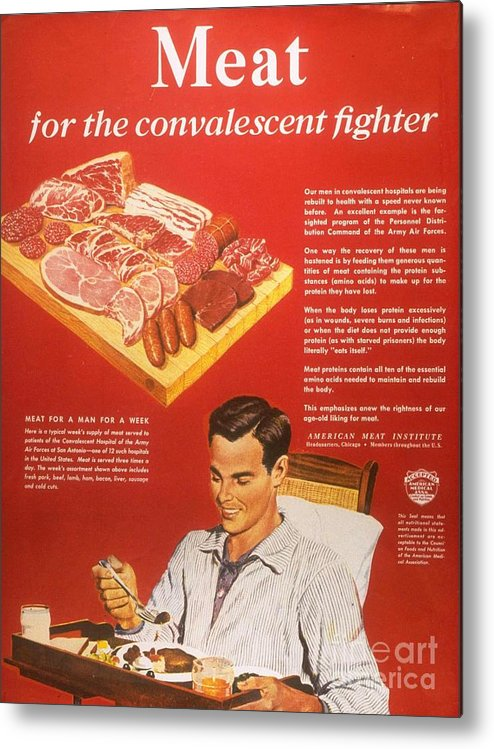1940�s Metal Print featuring the drawing 1940s Usa Convalescents Meat Eating by The Advertising Archives