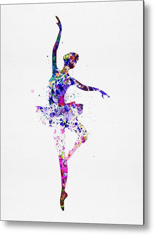 Ballet Metal Print featuring the painting Ballerina Dancing Watercolor 2 by Naxart Studio