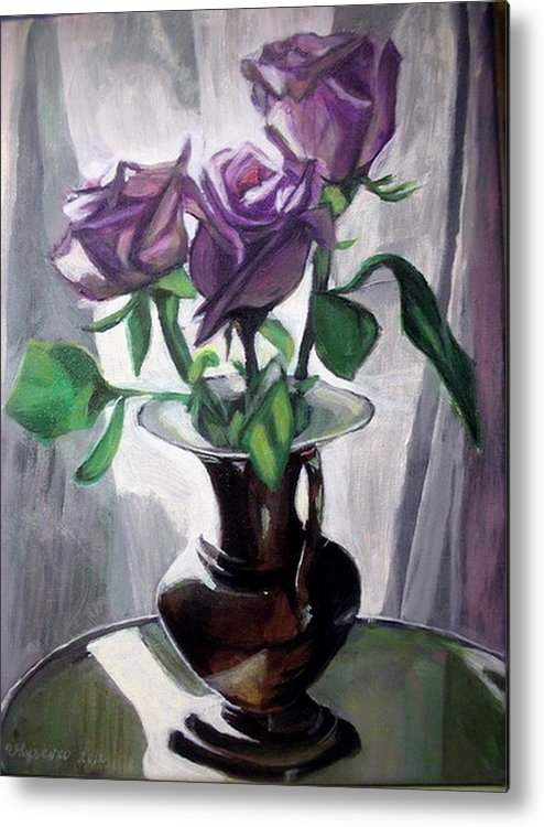 Rose Metal Print featuring the painting Morning Roses by Vera Lysenko