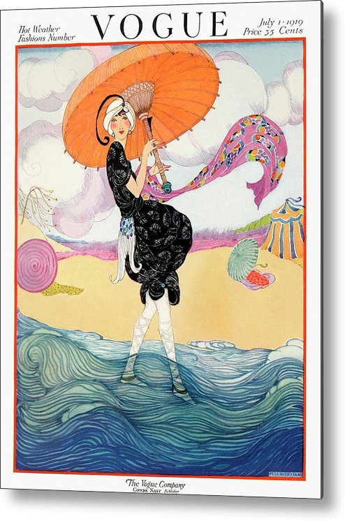 Illustration Metal Print featuring the photograph A Vogue Cover Of A Woman On A Beach by Helen Dryden