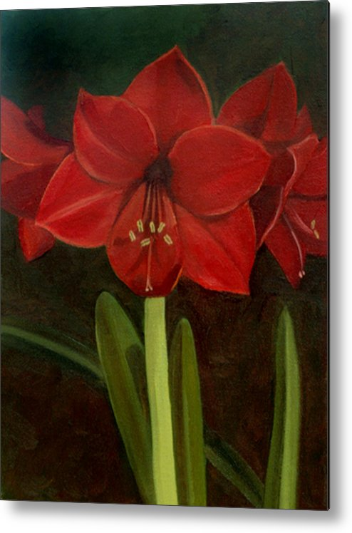 Amaryllis Metal Print featuring the painting Amaryllis by Nancy Griswold
