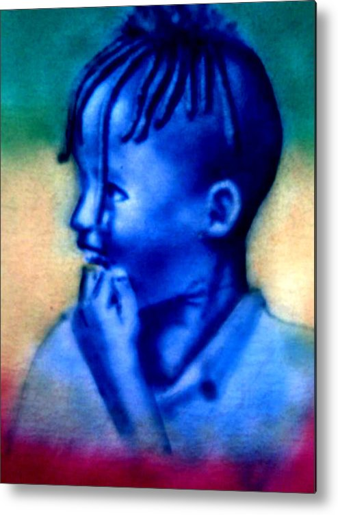Ethiopian Boy Metal Print featuring the painting Ethio Boy by Alex Medhin