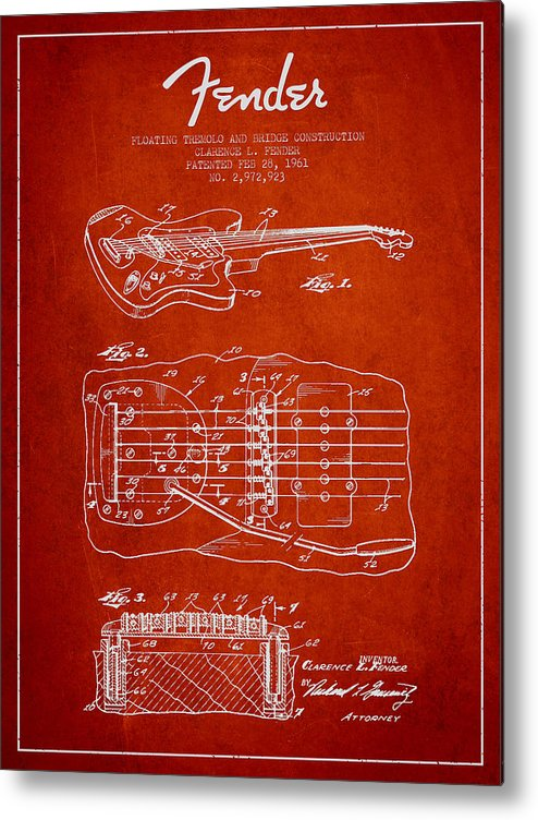 Fender Metal Print featuring the digital art Fender Floating Tremolo Patent Drawing From 1961 - Red by Aged Pixel