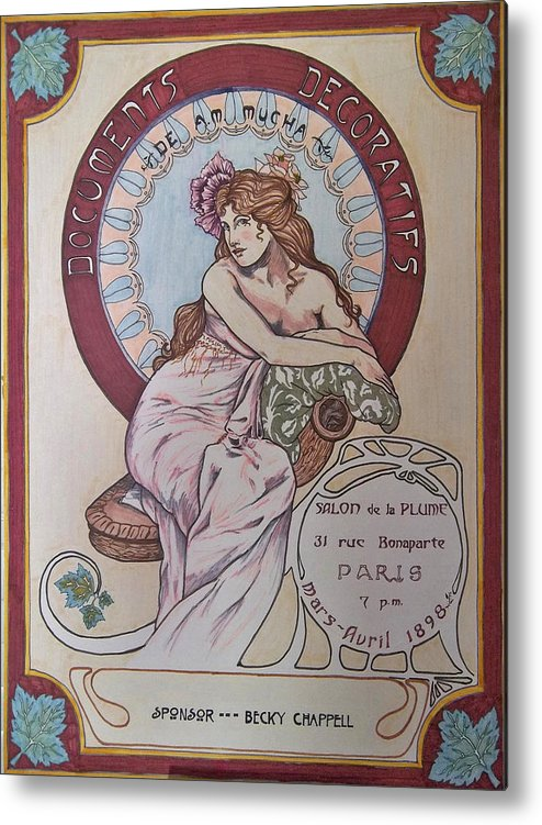 Alphonse Mucha Metal Print featuring the painting Mucha Poster by Becky Chappell
