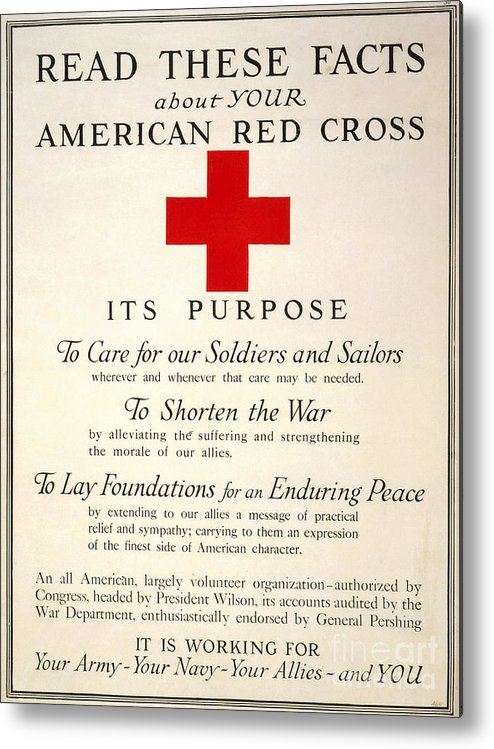 1917 Metal Print featuring the photograph Red Cross Poster, 1917 by Granger