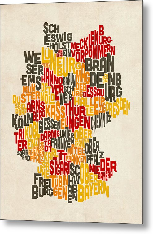 Text Map Metal Print featuring the digital art Text Map Of Germany Map by Michael Tompsett