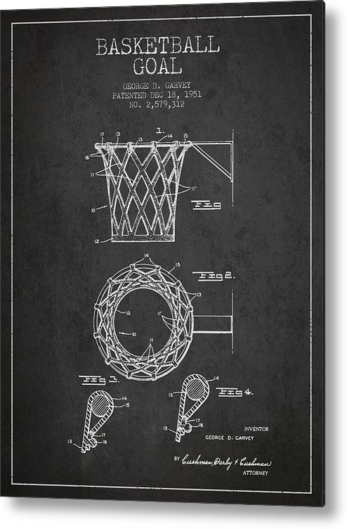 Hoop Patent Metal Print featuring the drawing Vintage Basketball Goal Patent From 1951 by Aged Pixel