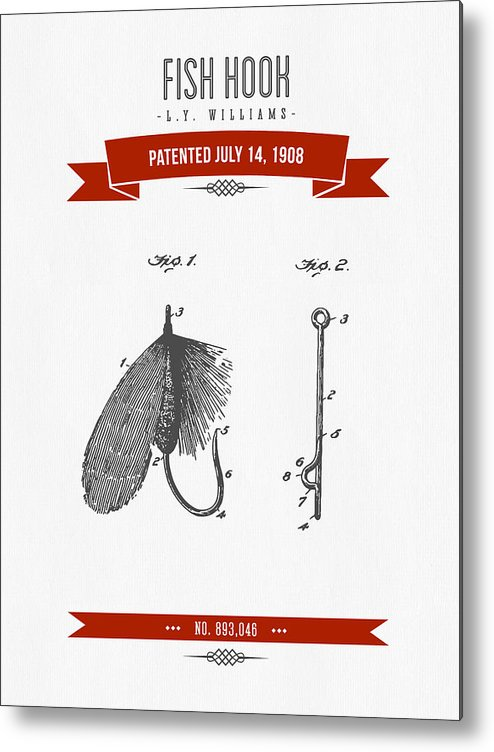 Fishing Metal Print featuring the digital art 1908 Fish Hook Patent Drawing - Retro Red by Aged Pixel