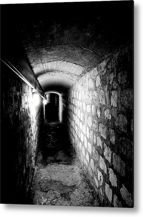 Paris Metal Print featuring the photograph Catacomb Tunnels In Paris France by Richard Rosenshein