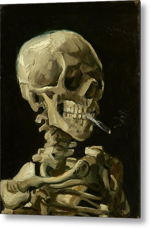 Vincent Van Gogh Metal Print featuring the painting Head Of A Skeleton With A Burning Cigarette by Vincent Van Gogh