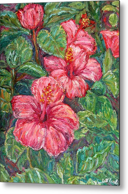 Hibiscus Metal Print featuring the painting Hibiscus by Kendall Kessler