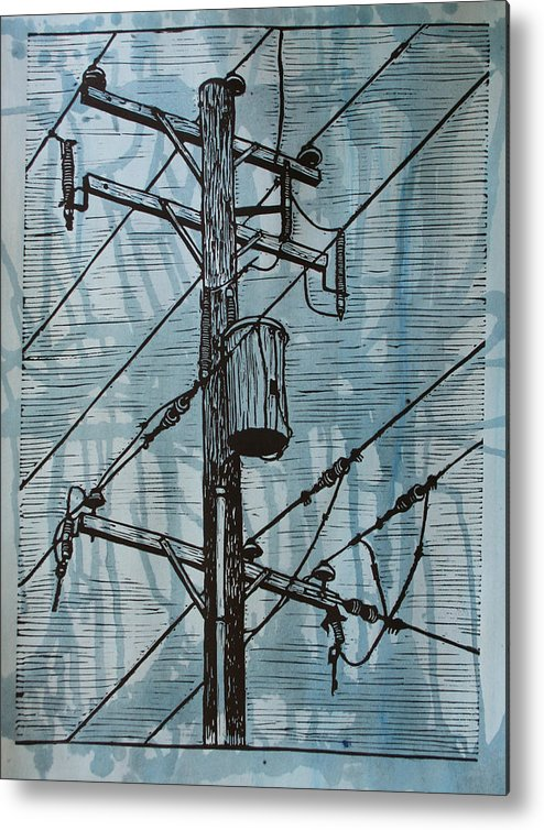 Lino Metal Print featuring the drawing Pole With Transformer by William Cauthern