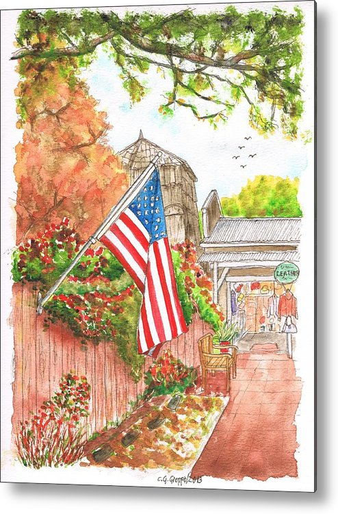 Flag Metal Print featuring the painting 4th Of July In Los Olivos, California by Carlos G Groppa