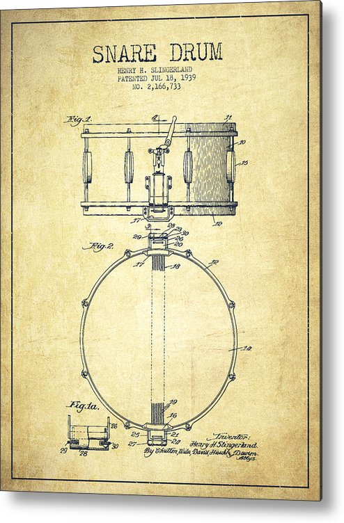 Snare Drum Metal Print featuring the digital art Snare Drum Patent Drawing From 1939 - Vintage by Aged Pixel