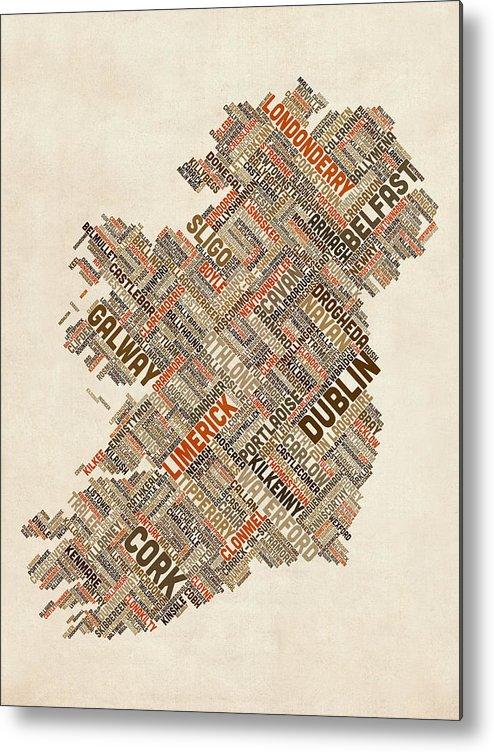 Ireland Map Metal Print featuring the digital art Ireland Eire City Text Map by Michael Tompsett