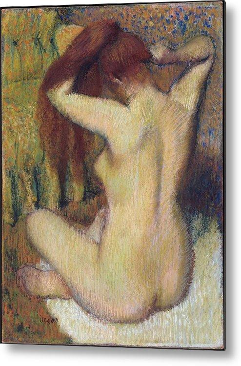 Edgar Degas Metal Print featuring the painting Woman Combing Her Hair by Edgar Degas