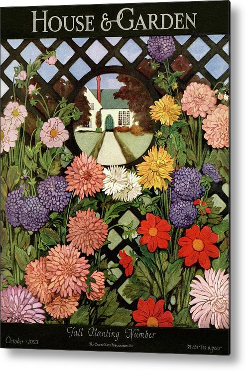 Illustration Metal Print featuring the photograph A House And Garden Cover Of Flowers by Ethel Franklin Betts Baines