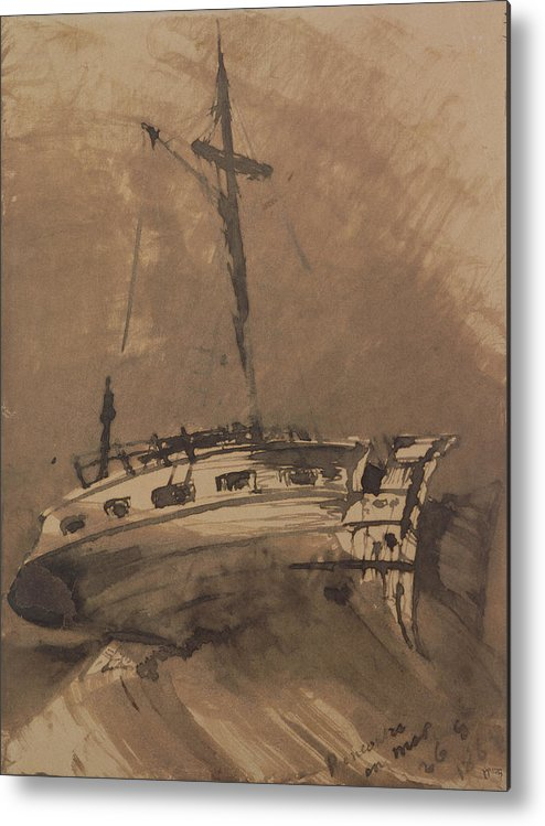 A Ship In Choppy Seas Metal Print featuring the painting A Ship In Choppy Seas by Victor Hugo