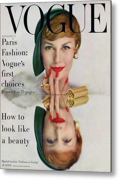 Fashion Metal Print featuring the photograph A Vogue Cover Of Mary Jane Russell by John Rawlings