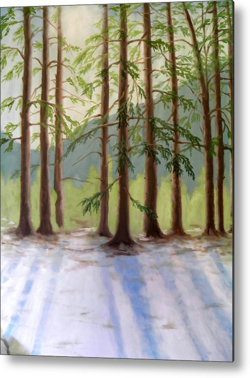 Snow Sunlight Shadow Blue White Green Brow Trees Mountain Fir Bush Clouds Sky Metal Print featuring the painting A Winter Scene by Ida Eriksen