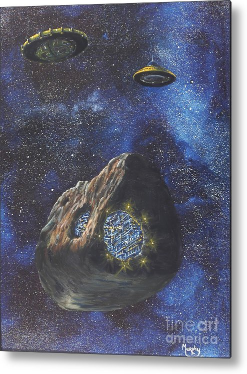 Painting Metal Print featuring the painting Alien Space Factory by Murphy Elliott
